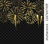realistic gold fireworks border ... | Shutterstock .eps vector #1267647439
