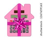 calculator house and ribbon as... | Shutterstock . vector #1267659163