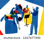 orchestra playing illustration... | Shutterstock . vector #1267677340