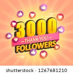 thanks for the first 3000... | Shutterstock .eps vector #1267681210