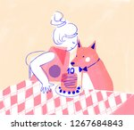 girl and pet dog birthday... | Shutterstock . vector #1267684843