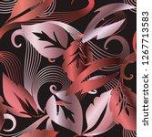 vintage leafy baroque damask... | Shutterstock .eps vector #1267713583