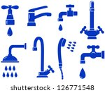 water set with isolated faucet... | Shutterstock .eps vector #126771548