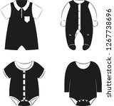 black silhouettes of  baby... | Shutterstock .eps vector #1267738696