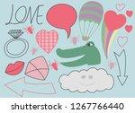 happy valentines day doodles ...   Shutterstock .eps vector #1267766440