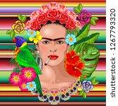 frida kaklo floral exotic... | Shutterstock .eps vector #1267793320
