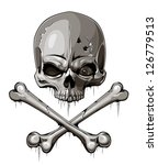decrepit skull with two crossed ... | Shutterstock .eps vector #126779513