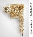 3d render golden leaf and...   Shutterstock . vector #1267844716