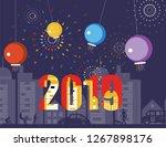 happy new year 2019 grretings... | Shutterstock .eps vector #1267898176