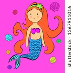 cute mermaid cartoon character | Shutterstock .eps vector #1267911016