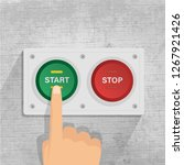 start and stop button. finger... | Shutterstock .eps vector #1267921426