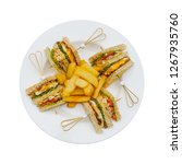club sandwich on white plate... | Shutterstock . vector #1267935760
