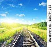 Railway On Sunny Summer Day.