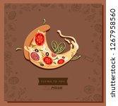 cartoon pizza character slice.... | Shutterstock .eps vector #1267958560