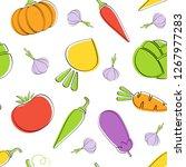 seamless vegetable pattern... | Shutterstock .eps vector #1267977283
