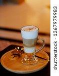 latte macchiato coffee served...   Shutterstock . vector #1267979983
