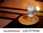 latte macchiato coffee served...   Shutterstock . vector #1267979986