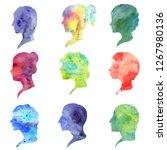 watercolor silhouette profiles... | Shutterstock . vector #1267980136