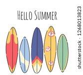 vector hello summer poster...   Shutterstock .eps vector #1268013823
