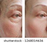 elderly woman facial wrinkles... | Shutterstock . vector #1268014636