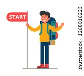 young traveler with a large... | Shutterstock .eps vector #1268016223
