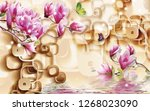 Stock photo  d illustration light background brown frames pink lilies butterflies reflection in water 1268023090