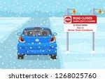 mini car stops in front of... | Shutterstock .eps vector #1268025760