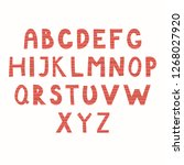 hand drawn latin alphabet in... | Shutterstock .eps vector #1268027920