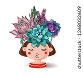 girl with flowers succulents.... | Shutterstock . vector #1268032609