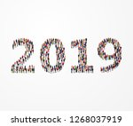 happy new year 2019. large and... | Shutterstock .eps vector #1268037919
