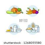 baby food set vegetables ... | Shutterstock .eps vector #1268055580