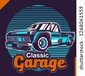 retro car service sign. vector... | Shutterstock .eps vector #1268061559