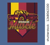 retro style muscle car   vector  | Shutterstock .eps vector #1268062330