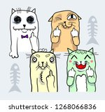 cute colorful cats in doodle... | Shutterstock .eps vector #1268066836