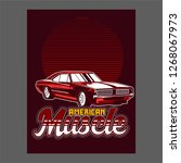 american muscle cars label ... | Shutterstock .eps vector #1268067973