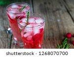 raspberry mojito. refreshing... | Shutterstock . vector #1268070700