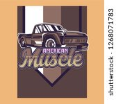 retro style muscle car   vector  | Shutterstock .eps vector #1268071783