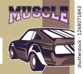 retro style muscle car   vector  | Shutterstock .eps vector #1268071843