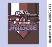 retro style muscle car   vector  | Shutterstock .eps vector #1268072686