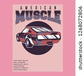 retro style muscle car   vector  | Shutterstock .eps vector #1268072806