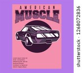 retro style muscle car   vector  | Shutterstock .eps vector #1268072836