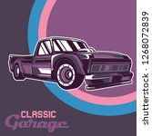 retro style muscle car   vector  | Shutterstock .eps vector #1268072839