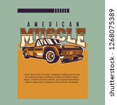 retro party poster with car.... | Shutterstock .eps vector #1268075389