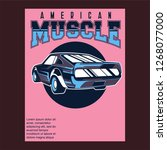 american muscle cars label ... | Shutterstock .eps vector #1268077000