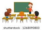 vector illustration of classroom | Shutterstock .eps vector #1268090803