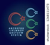 star and crescent icon set neon ... | Shutterstock .eps vector #1268111473