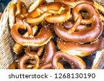 bavarian pretzels at a bakery   Shutterstock . vector #1268130190
