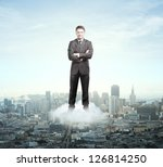 businessman on cloud against... | Shutterstock . vector #126814250