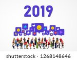 large group of people with...   Shutterstock .eps vector #1268148646