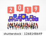 large group of people with...   Shutterstock .eps vector #1268148649